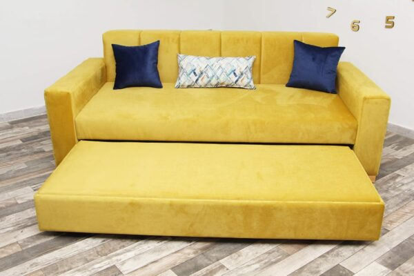 Canapé convertible en tissu jaune LINDA
