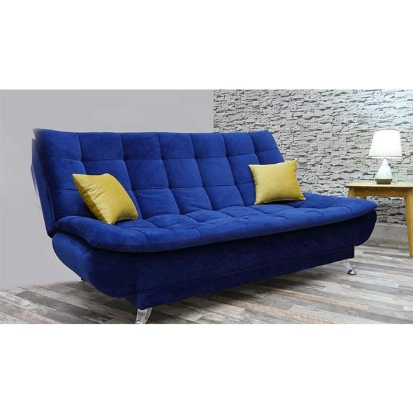 Canapé Lit pied inox en tissu bleu et Jaune CALYPSO