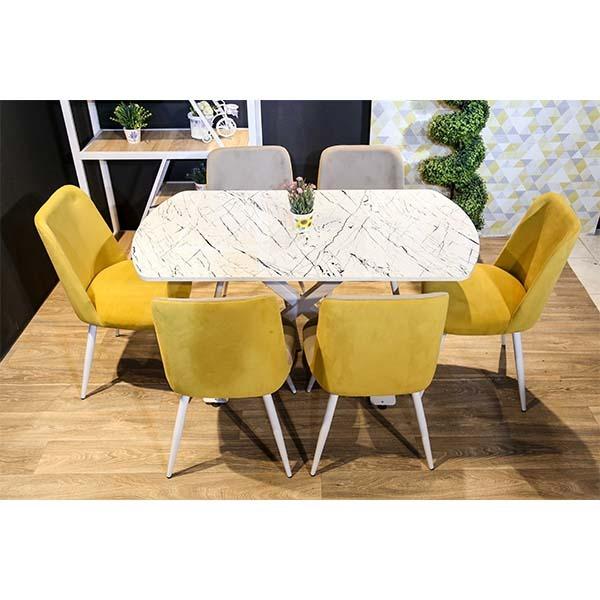 Table de cuisine X ELEGANCE avec 6 chaises blanc